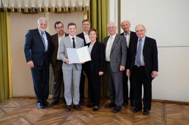Von links nach rechtst: Prof. Andreas Steimel, Rainer Lüdtke, Dr. Friedrich Chasin, Prof. Jörg Becker, Prof. Theresia Theurl, Dr. Martin Vossloh, Prof. Günther Leykauf, Karl-Johannes Voßloh
