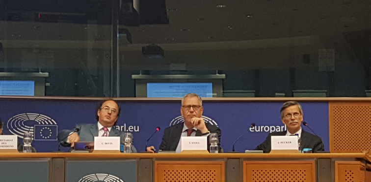 Becker (right) along with other experts in the European Parliament