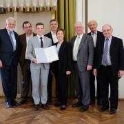 From left to right: Prof. Andreas Steimel, Rainer Lüdtke, Dr. Friedrich Chasin, Prof. Jörg Becker, Prof. Theresia Theurl, Dr. Martin Vossloh, Prof. Günther Leykauf, Karl-Johannes Voßloh